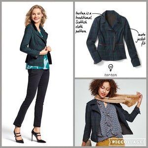 CAbi Tartan Green/Blue Plaid Zipper Moto Jacket